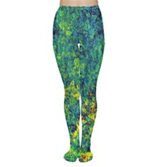 Flowers Abstract Yellow Green Women s Tights by Costasonlineshop