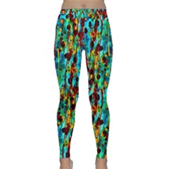 Turquoise Blue Green  Painting Pattern Yoga Leggings by Costasonlineshop