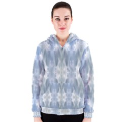Ice Crystals Abstract Pattern Women s Zipper Hoodies by Costasonlineshop