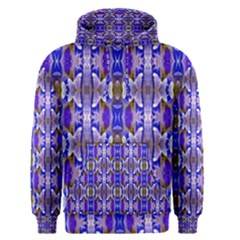 Blue White Abstract Flower Pattern Men s Pullover Hoodie by Costasonlineshop