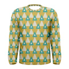 White Blue Triangles Pattern Men Long Sleeve T Shirt by LalyLauraFLM
