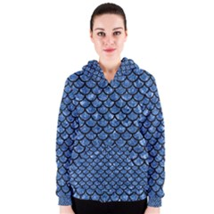 Scales1 Black Marble & Blue Marble Women s Zipper Hoodie by trendistuff