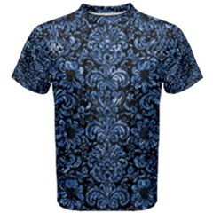 Damask2 Black Marble & Blue Marble (r) Men s Cotton Tee by trendistuff
