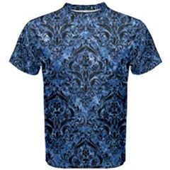 Damask1 Black Marble & Blue Marble (r) Men s Cotton Tee by trendistuff