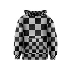 Square1 Black Marble & Silver Brushed Metal Kids  Pullover Hoodie by trendistuff