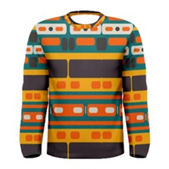 Rectangles In Retro Colors Texture Men Long Sleeve T-shirt by LalyLauraFLM