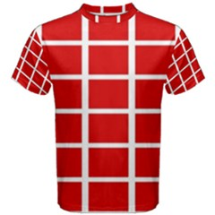 Red Cubes Stripes Men s Cotton Tee by timelessartoncanvas