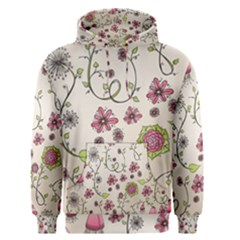 Pink Whimsical Flowers On Beige Men s Pullover Hoodie by Zandiepants