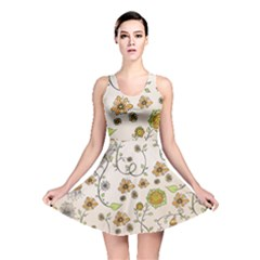 Yellow Whimsical Flowers  Reversible Skater Dress by Zandiepants