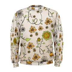 Yellow Whimsical Flowers  Men s Sweatshirt by Zandiepants