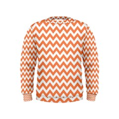 Orange And White Zigzag Kids  Sweatshirt by Zandiepants