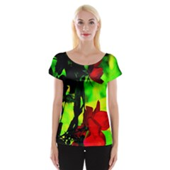 Red Roses And Bright Green 1 Women s Cap Sleeve Top by timelessartoncanvas