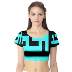 Black And Teal Short Sleeve Crop Top (tight Fit) by timelessartoncanvas