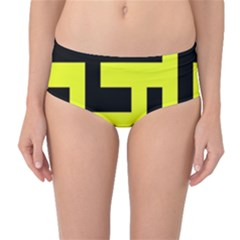 Black And Yellow Mid Waist Bikini Bottoms by timelessartoncanvas