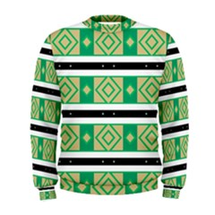 Green Rhombus And Stripes            Men s Sweatshirt by LalyLauraFLM