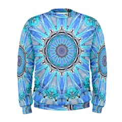 Sapphire Ice Flame, Light Bright Crystal Wheel Men s Sweatshirt by DianeClancy