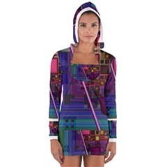 Jewel City, Radiant Rainbow Abstract Urban Women s Long Sleeve Hooded T Shirt by DianeClancy