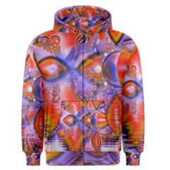Crystal Star Dance, Abstract Purple Orange Men s Zipper Hoodie by DianeClancy