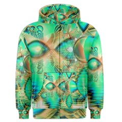 Golden Teal Peacock, Abstract Copper Crystal Men s Zipper Hoodie by DianeClancy
