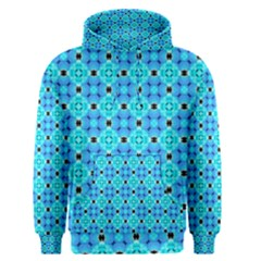 Vibrant Modern Abstract Lattice Aqua Blue Quilt Men s Pullover Hoodie by DianeClancy