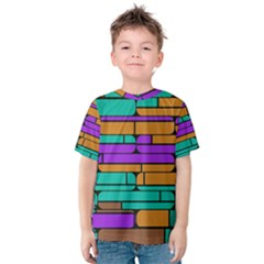 Round Corner Shapes In Retro Colors            Kid s Cotton Tee by LalyLauraFLM