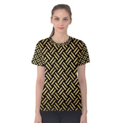 Woven2 Black Marble & Gold Brushed Metal Women s Cotton Tee by trendistuff