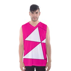 Funny Hot Pink White Geometric Triangles Kids Art Men s Basketball Tank Top by yoursparklingshop