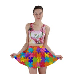 Funny Colorful Puzzle Pieces Mini Skirt by yoursparklingshop