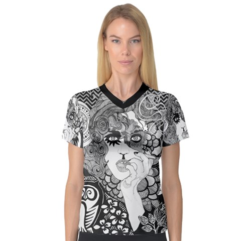 Smoking Woman Women s V-neck Sport Mesh Tee by DryInk