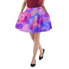 Pink And Purple Marble Waves A-line Pocket Skirt by KirstenStar