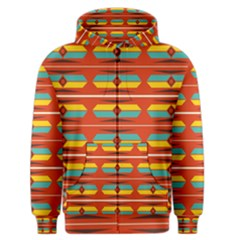 Shapes In Retro Colors Pattern                        Men s Zipper Hoodie by LalyLauraFLM