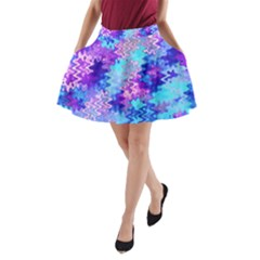 Blue And Purple Marble Waves A-line Pocket Skirt by KirstenStar