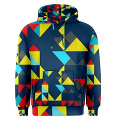 Colorful Shapes On A Blue Background                                        Men s Pullover Hoodie by LalyLauraFLM