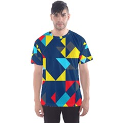 Colorful Shapes On A Blue Background                                        Men s Sport Mesh Tee by LalyLauraFLM