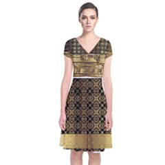 Assyrian Gold Wingedbull Dress 1 Short Sleeve Front Wrap Dress by DoniainArt