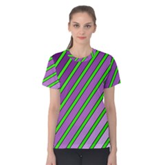Purple And Green Lines Women s Cotton Tee by Valentinaart