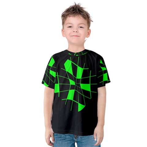 Green Abstract Flower Kid s Cotton Tee by Valentinaart