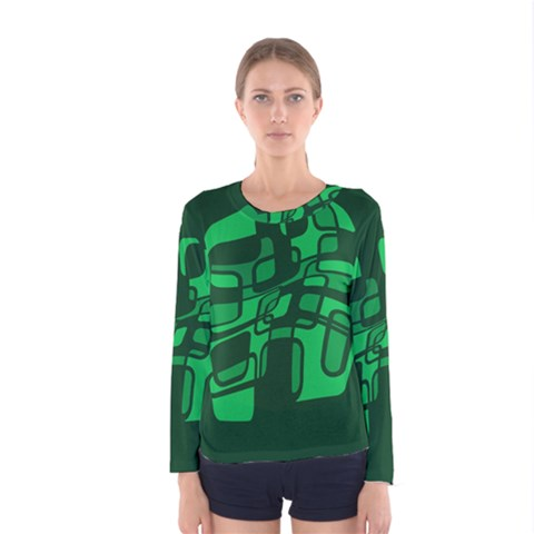 Green Abstraction Women s Long Sleeve Tee by Valentinaart