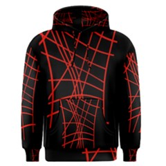 Neon Red Abstraction Men s Pullover Hoodie by Valentinaart