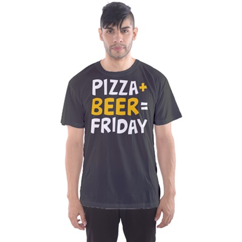 Pizza + Beer = Friday Men s Sport Mesh Tee by Contest2494620