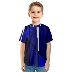 Blue Abstraction Kid s Sport Mesh Tee by Valentinaart