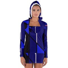 Blue Abstraction Women s Long Sleeve Hooded T Shirt by Valentinaart