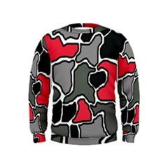 Black, Gray And Red Abstraction Kids  Sweatshirt by Valentinaart