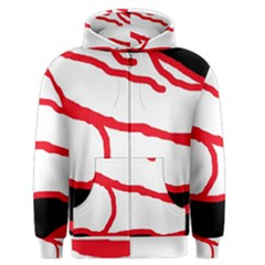Red, Black And White Design Men s Zipper Hoodie by Valentinaart