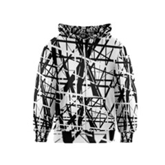Black And White Abstract Design Kids  Zipper Hoodie by Valentinaart