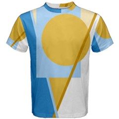 Blue And Yellow Abstract Design Men s Cotton Tee by Valentinaart