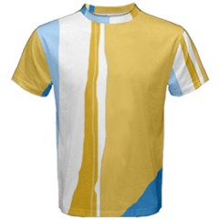 Blue And Yellow Lines Men s Cotton Tee by Valentinaart