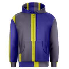 Blue And Yellow Lines Men s Zipper Hoodie by Valentinaart