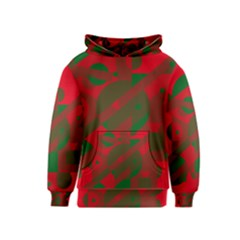 Red And Green Abstract Design Kids  Pullover Hoodie by Valentinaart