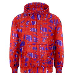 Blue And Red Pattern Men s Zipper Hoodie by Valentinaart
